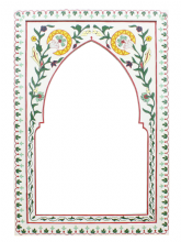 Moroccan Mirror Arched Zouak Wood White  Handmade Large 90cm x 60cm  (ZML11)